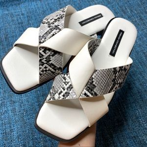 NEW French Connection Snake Print Slide Sandals